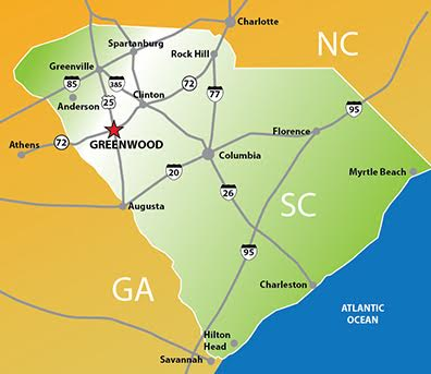 Map Of I 85 Georgia.Maps Directions Visit Greenwood Sc